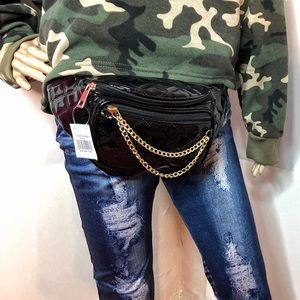 quilted patent leather fanny pack